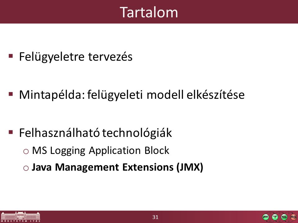31 Tartalom  Felügyeletre tervezés  Mintapélda: felügyeleti modell elkészítése  Felhasználható technológiák o MS Logging Application Block o Java Management Extensions (JMX)