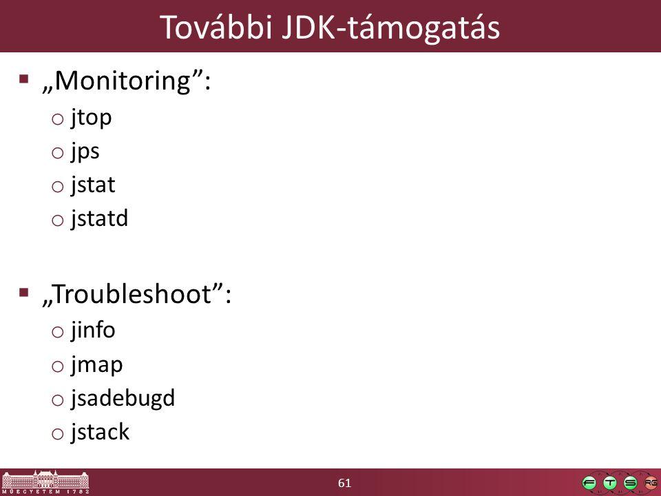 """61 További JDK-támogatás  """"Monitoring"""": o jtop o jps o jstat o jstatd  """"Troubleshoot"""": o jinfo o jmap o jsadebugd o jstack"""