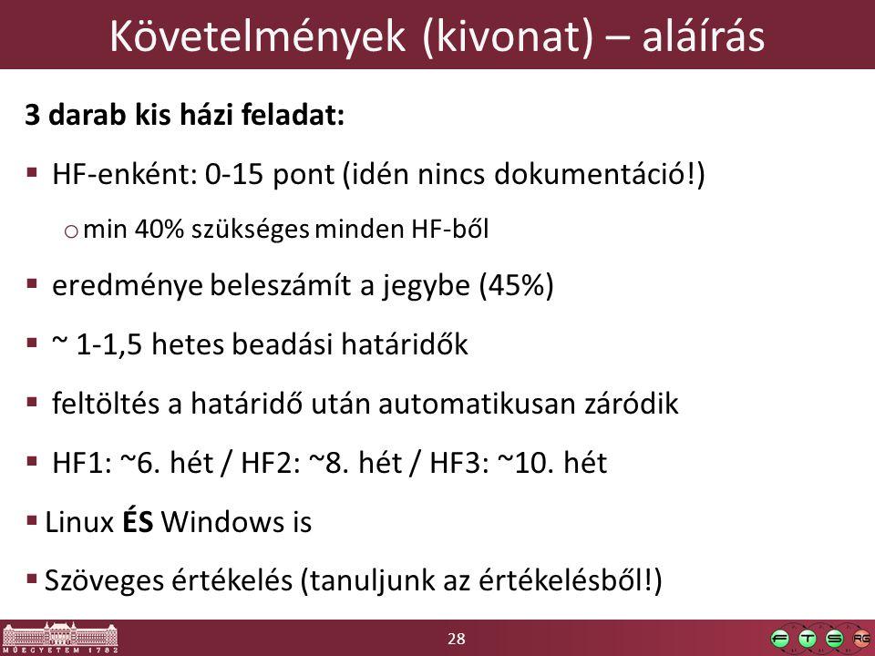 28 Követelmények (kivonat) – aláírás 3 darab kis házi feladat:  HF-enként: 0-15 pont (idén nincs dokumentáció!) o min 40% szükséges minden HF-ből  eredménye beleszámít a jegybe (45%)  ~ 1-1,5 hetes beadási határidők  feltöltés a határidő után automatikusan záródik  HF1: ~6.