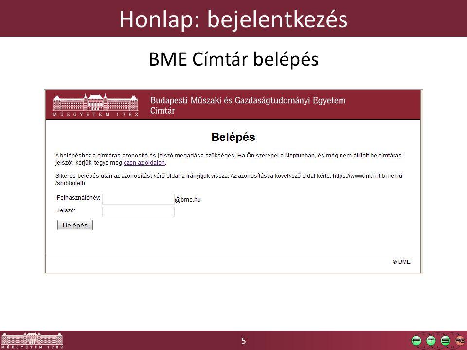 5 Honlap: bejelentkezés BME Címtár belépés