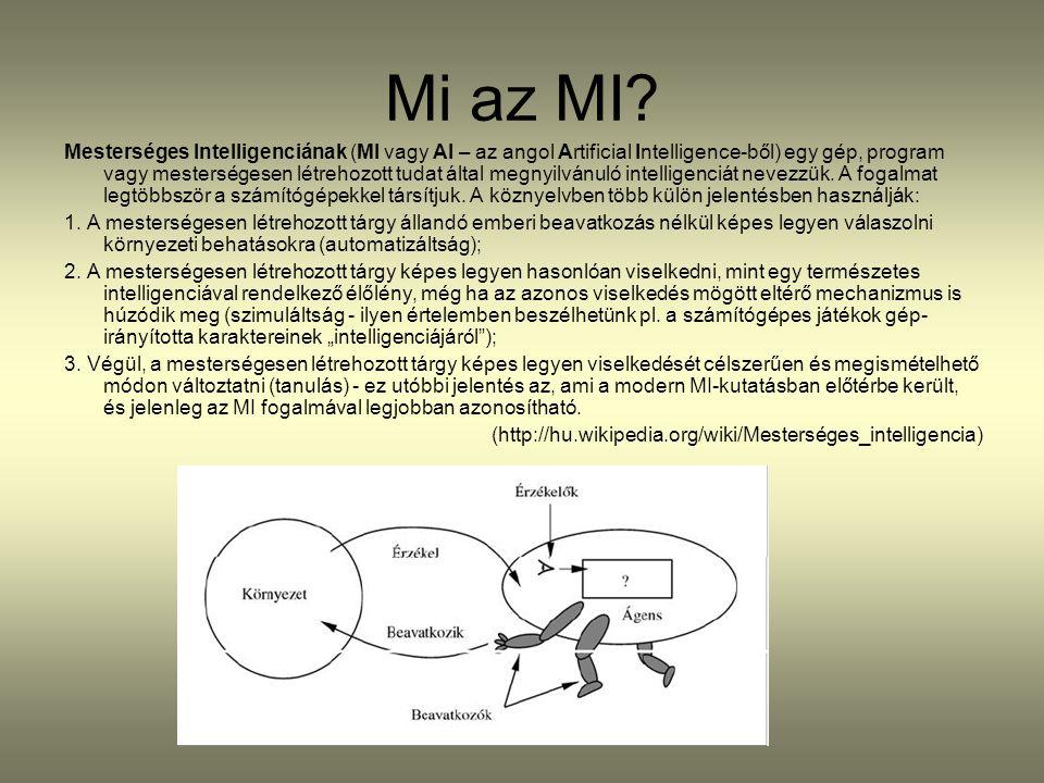 Mi az MI? Mesterséges Intelligenciának (MI vagy AI – az angol Artificial Intelligence-ből) egy gép, program vagy mesterségesen létrehozott tudat által