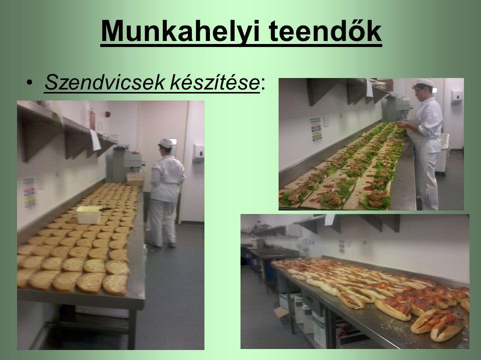Szendvicsek készítése: Munkahelyi teendők