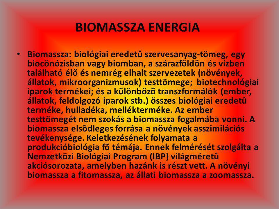 BIOMASSZA ENERGIA Biomassza: biológiai eredetû szervesanyag-tömeg, egy biocönózisban vagy biomban, a szárazföldön és vízben található élõ és nemrég el