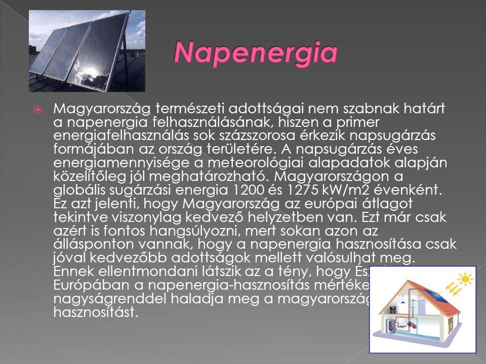  Magyarország természeti adottságai nem szabnak határt a napenergia felhasználásának, hiszen a primer energiafelhasználás sok százszorosa érkezik napsugárzás formájában az ország területére.