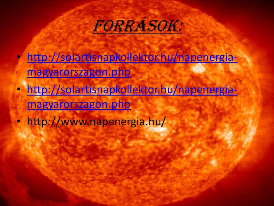 Források: http://solartisnapkollektor.hu/napenergia- magyarorszagon.php http://solartisnapkollektor.hu/napenergia- magyarorszagon.php http://solartisn