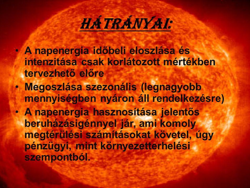 Hátrányai: A napenergia időbeli eloszlása és intenzitása csak korlátozott mértékben tervezhető előre Megoszlása szezonális (legnagyobb mennyiségben ny