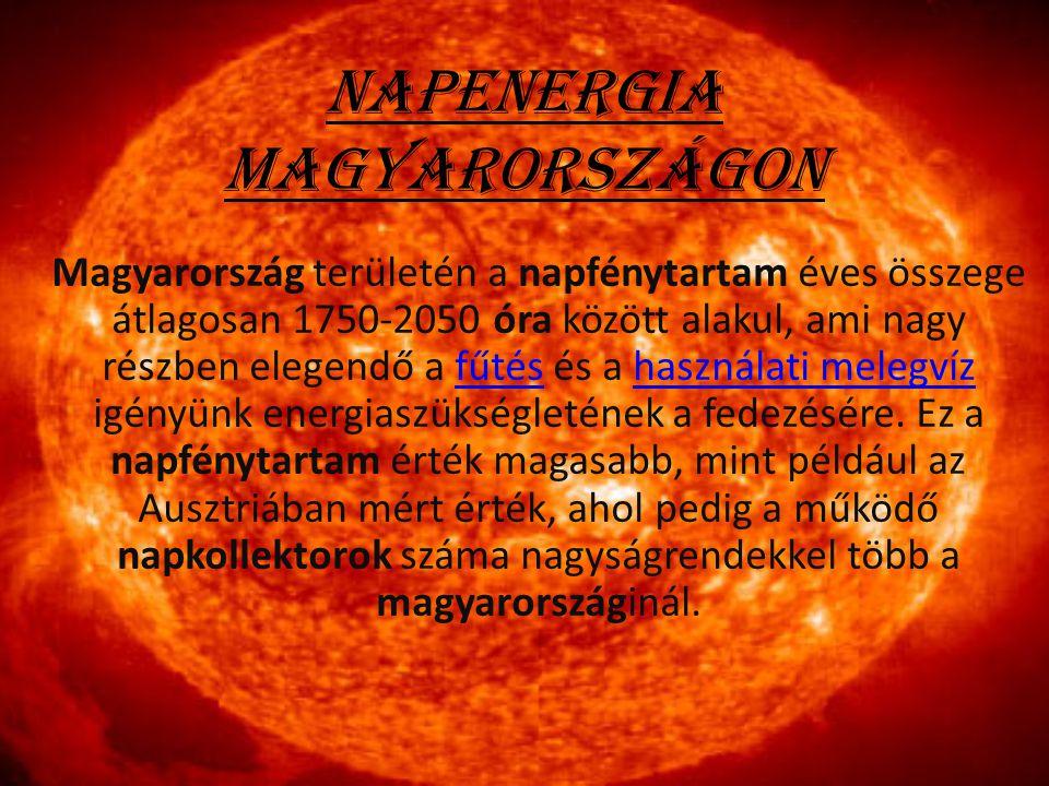 Napenergia Magyarországon Magyarország területén a napfénytartam éves összege átlagosan 1750-2050 óra között alakul, ami nagy részben elegendő a fűtés