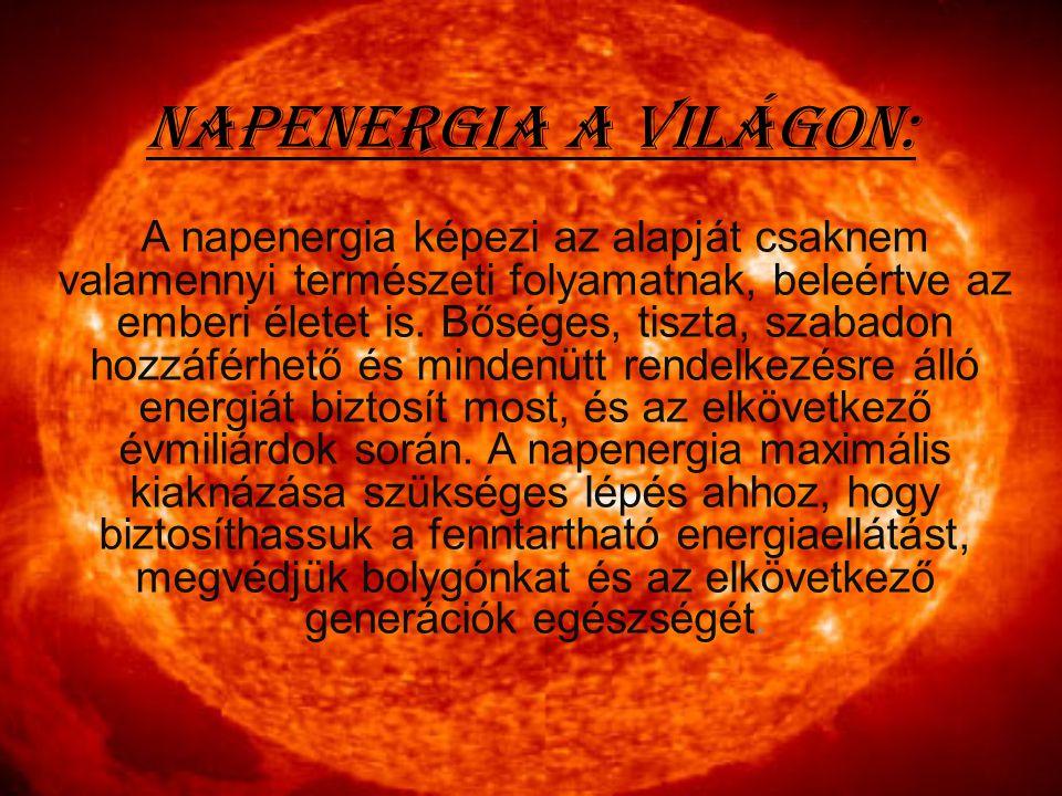 Napenergia a világon: A napenergia képezi az alapját csaknem valamennyi természeti folyamatnak, beleértve az emberi életet is. Bőséges, tiszta, szabad