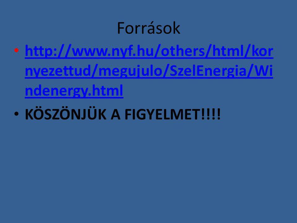 Források http://www.nyf.hu/others/html/kor nyezettud/megujulo/SzelEnergia/Wi ndenergy.html http://www.nyf.hu/others/html/kor nyezettud/megujulo/SzelEn