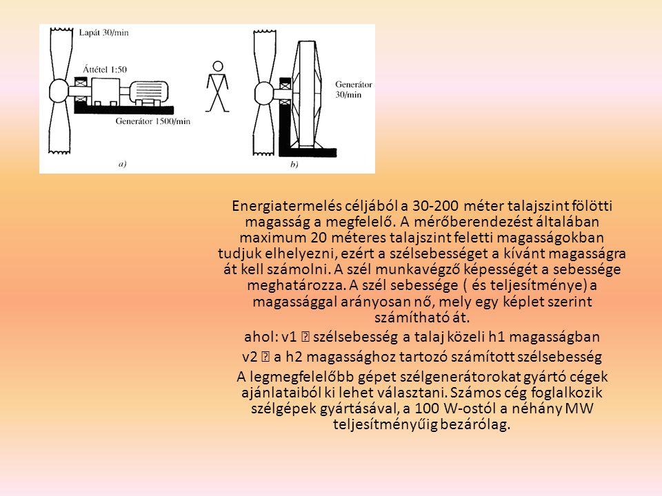 Tervezés: Nehéz feladat egy szélgenerátor helyének és típusának kiválasztása, mert a meteorológiai állomások átlagadatai alkalmasak ugyan az általános