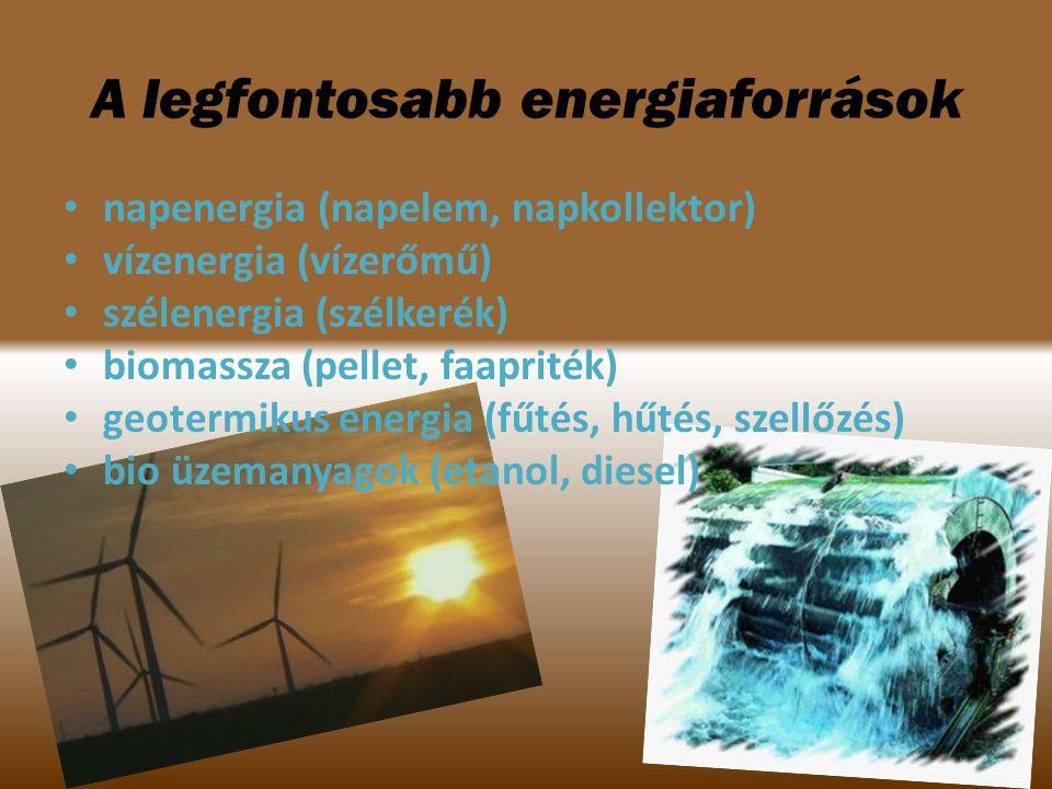 napenergia (napelem, napkollektor) vízenergia (vízerőmű) szélenergia (szélkerék) biomassza (pellet, faapriték) geotermikus energia (fűtés, hűtés, szel