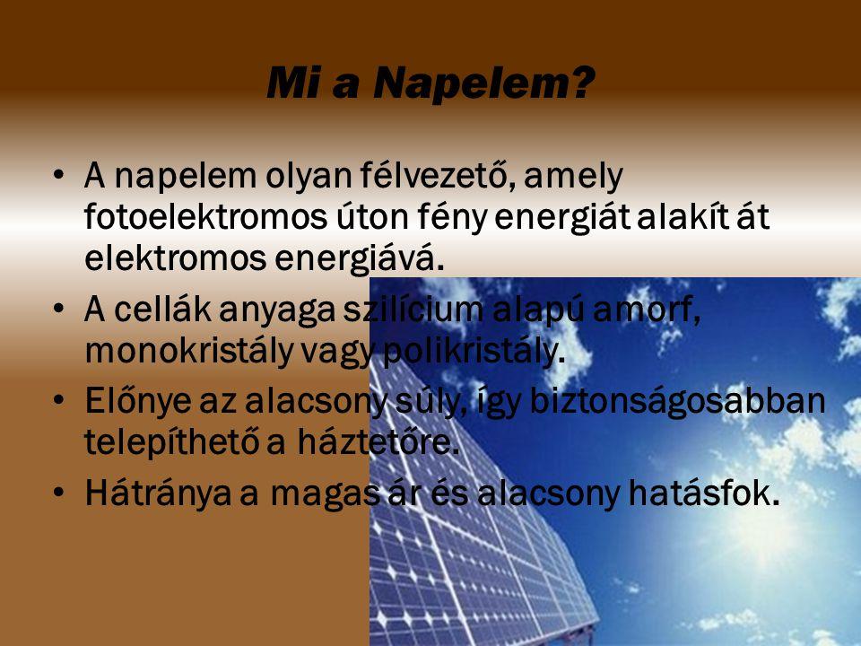 A napelem olyan félvezető, amely fotoelektromos úton fény energiát alakít át elektromos energiává. A cellák anyaga szilícium alapú amorf, monokristály