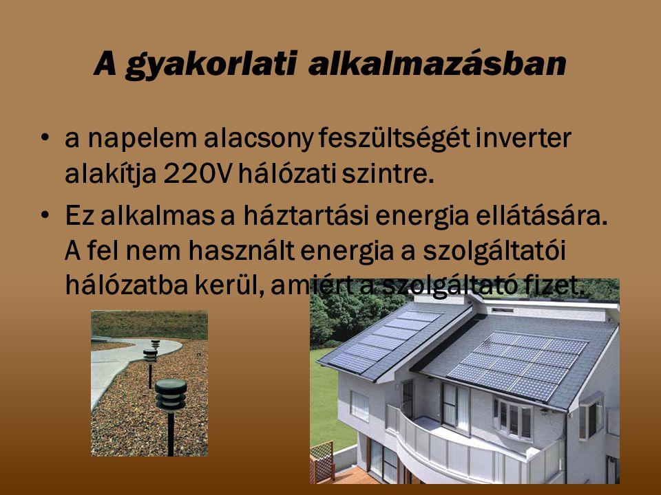 A gyakorlati alkalmazásban a napelem alacsony feszültségét inverter alakítja 220V hálózati szintre. Ez alkalmas a háztartási energia ellátására. A fel
