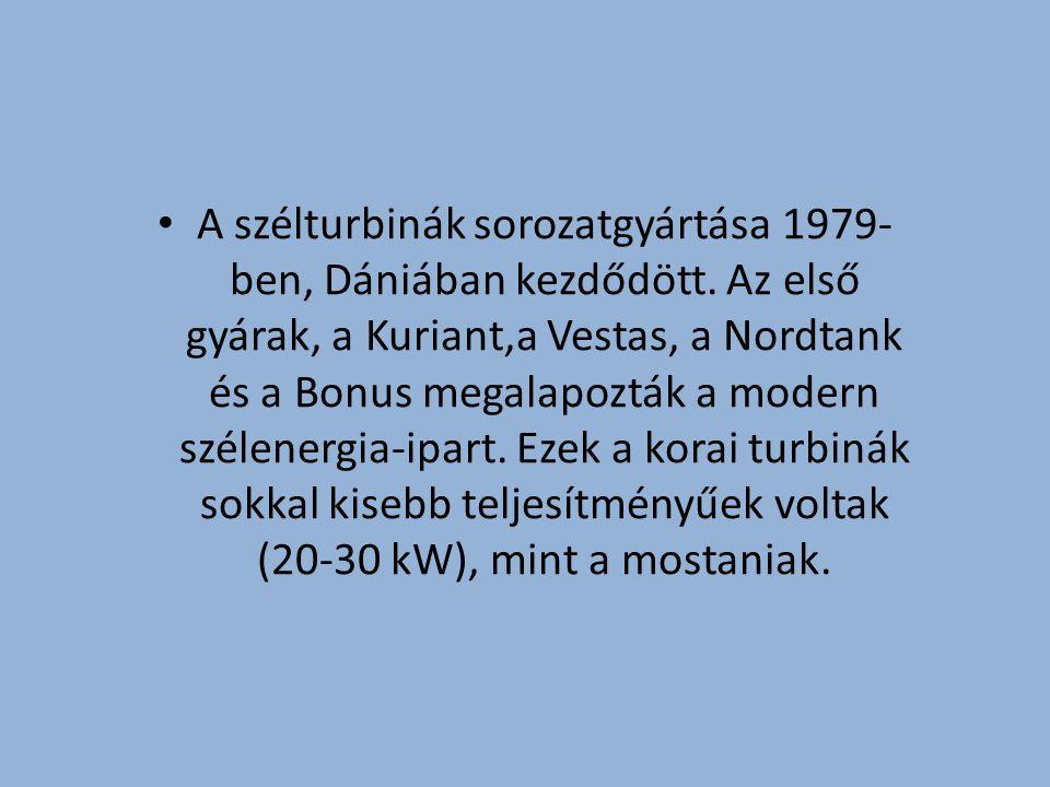 A szélturbinák sorozatgyártása 1979- ben, Dániában kezdődött.
