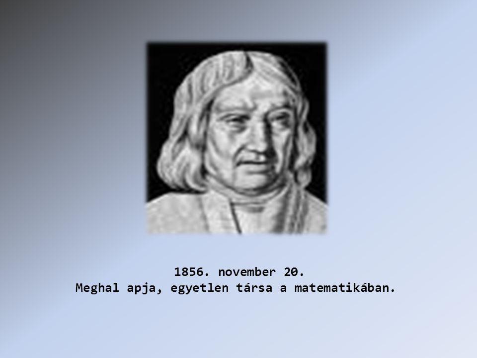 1856. november 20. Meghal apja, egyetlen társa a matematikában.