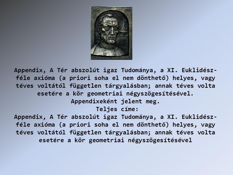Appendix, A Tér abszolút igaz Tudománya, a XI.