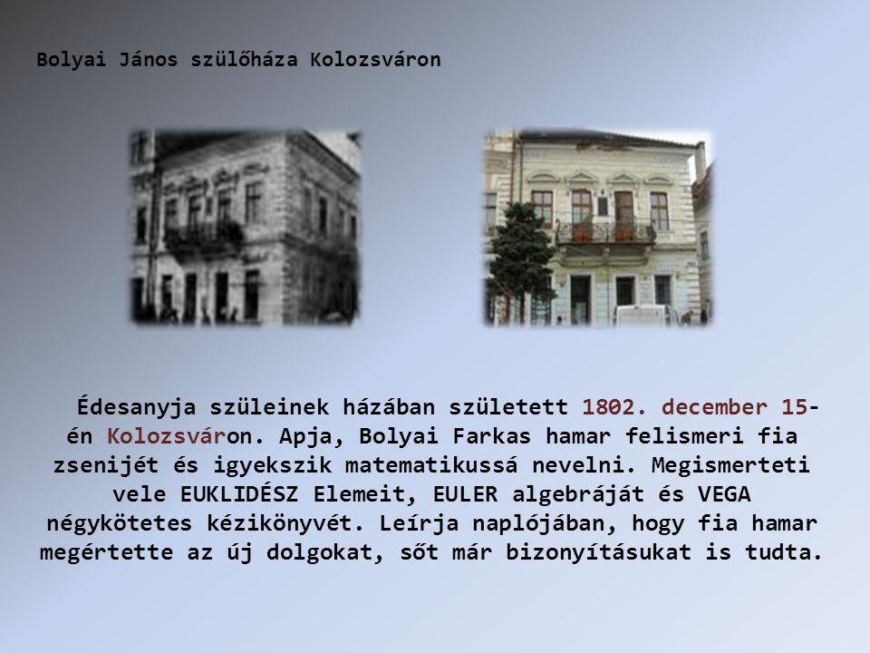 Édesanyja szüleinek házában született 1802. december 15- én Kolozsváron.