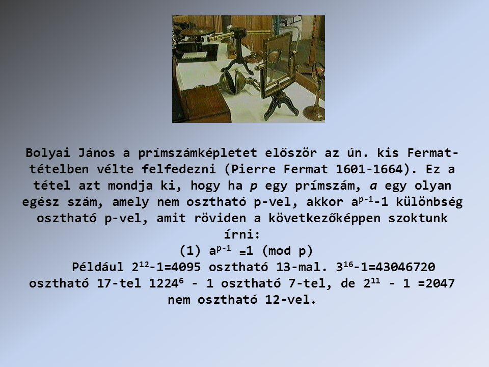 Bolyai János a prímszámképletet először az ún.