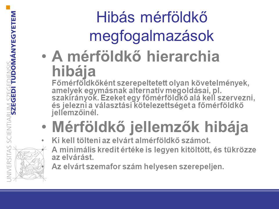 Hibás mérföldkő megfogalmazások A mérföldkő hierarchia hibája Főmérföldkőként szerepeltetett olyan követelmények, amelyek egymásnak alternatív megoldásai, pl.