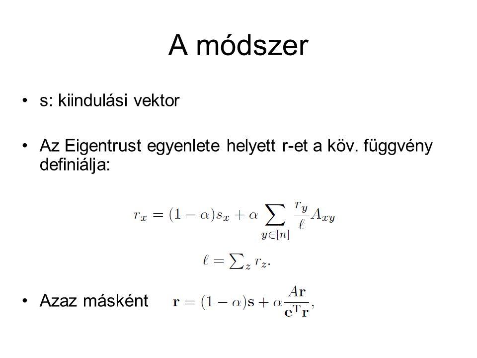 s: kiindulási vektor Az Eigentrust egyenlete helyett r-et a köv. függvény definiálja: Azaz másként