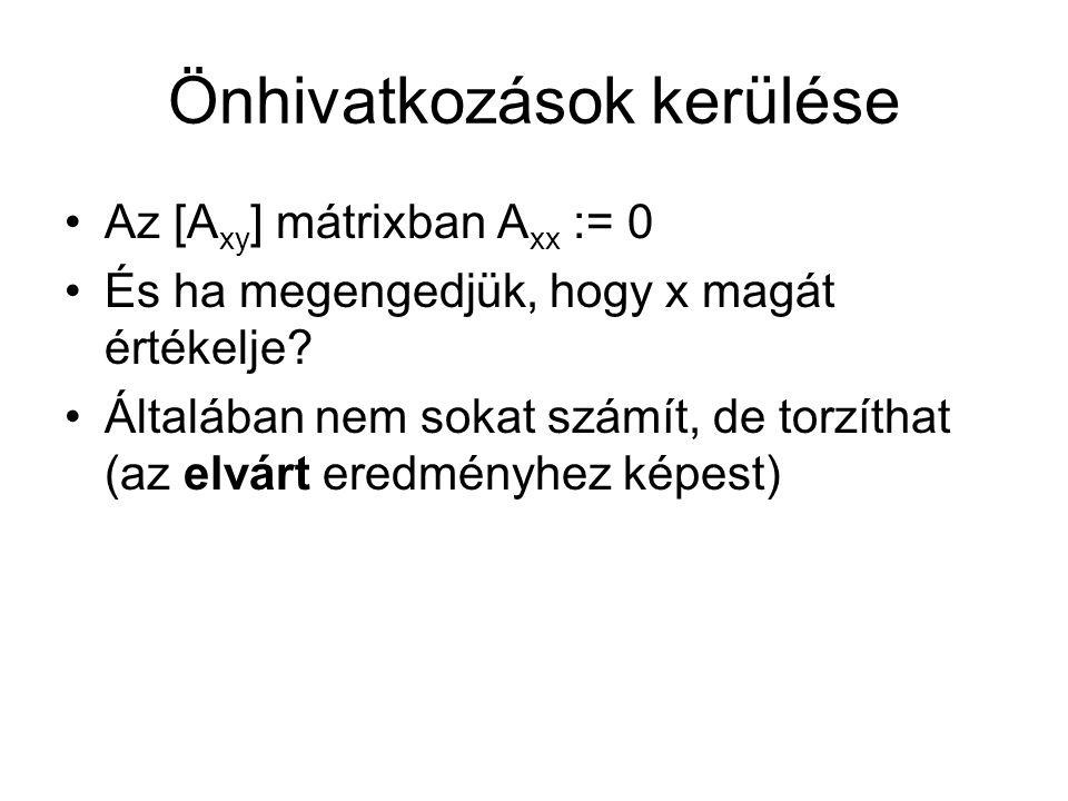 Önhivatkozások kerülése Az [A xy ] mátrixban A xx := 0 És ha megengedjük, hogy x magát értékelje.
