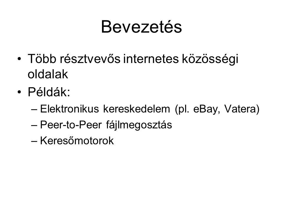 Bevezetés Több résztvevős internetes közösségi oldalak Példák: –Elektronikus kereskedelem (pl.