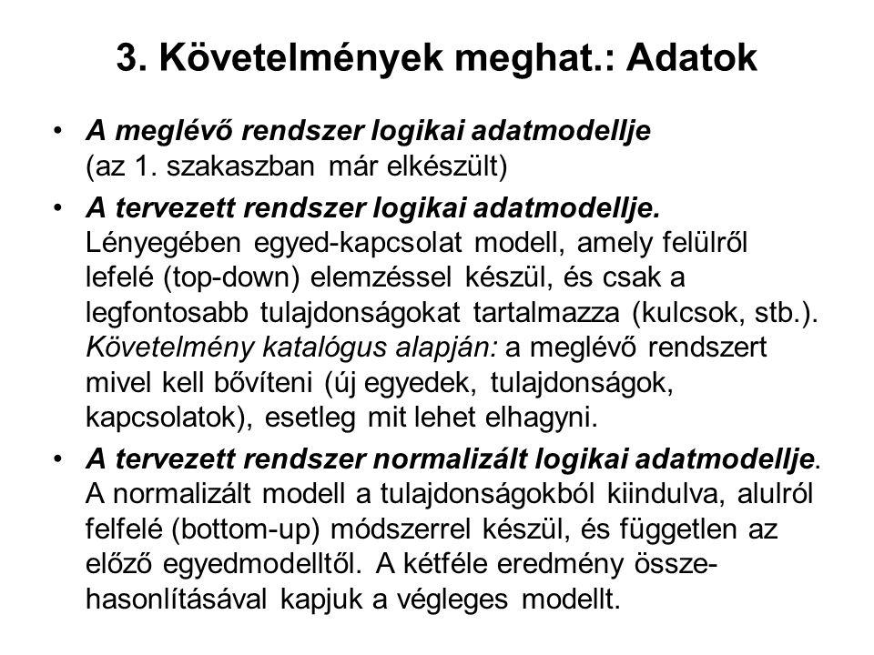 3. Követelmények meghat.: Adatok A meglévő rendszer logikai adatmodellje (az 1. szakaszban már elkészült) A tervezett rendszer logikai adatmodellje. L