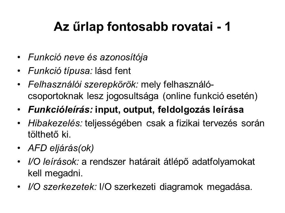 Az űrlap fontosabb rovatai - 1 Funkció neve és azonosítója Funkció típusa: lásd fent Felhasználói szerepkörök: mely felhasználó- csoportoknak lesz jog