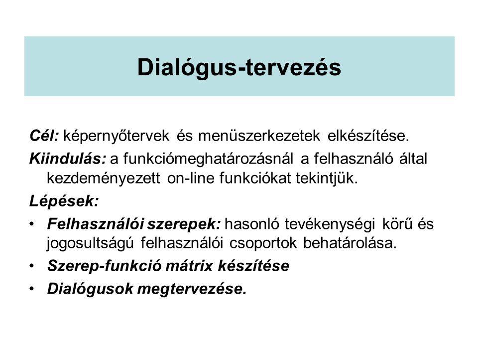 Dialógus-tervezés Cél: képernyőtervek és menüszerkezetek elkészítése. Kiindulás: a funkciómeghatározásnál a felhasználó által kezdeményezett on-line f