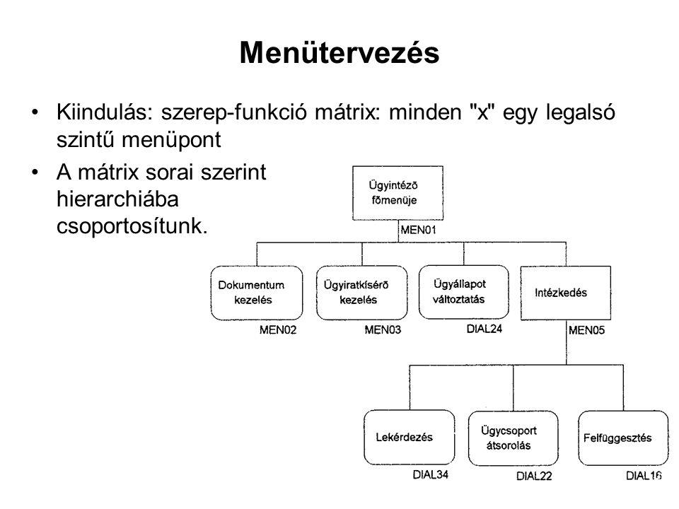 Menütervezés Kiindulás: szerep-funkció mátrix: minden