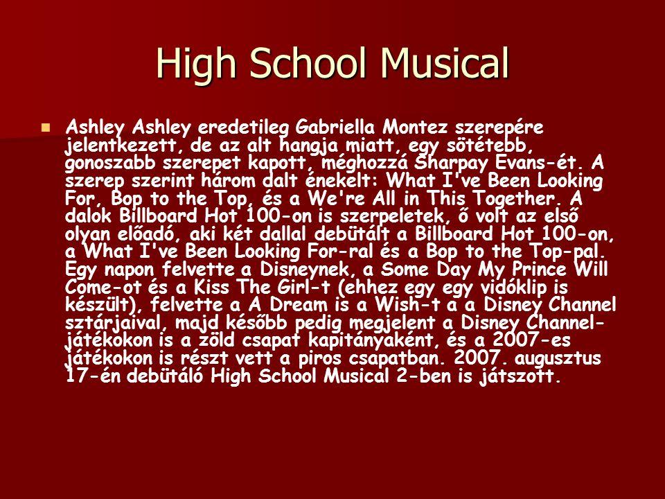 High School Musical Ashley Ashley eredetileg Gabriella Montez szerepére jelentkezett, de az alt hangja miatt, egy sötétebb, gonoszabb szerepet kapott,