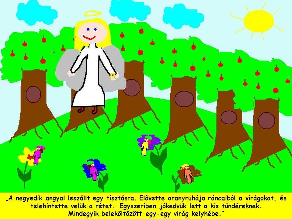 """""""A negyedik angyal leszállt egy tisztásra. Elővette aranyruhája ráncaiból a virágokat, és telehintette velük a rétet. Egyszeriben jókedvük lett a kis"""