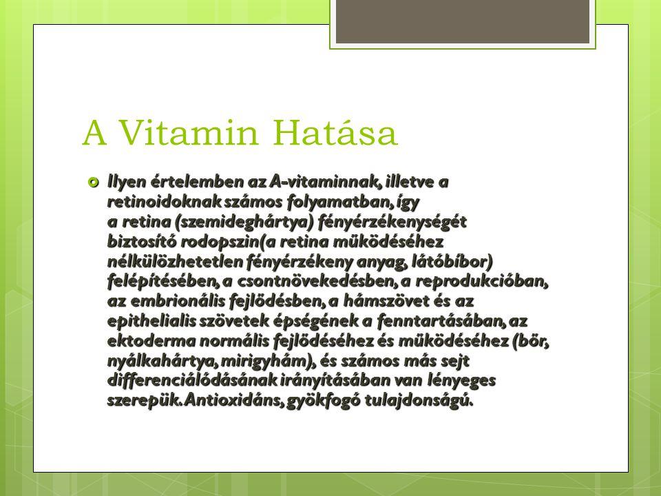 A vitamin hiány  Az A-vitamin tartós hiánya hemeralopia, xerophtalmia, keratokonjunctivitis, keratomalacia és hyperkeratotikus vagy atrophiás bőr- és nyálkahártya-elváltozásokhoz vezethet.
