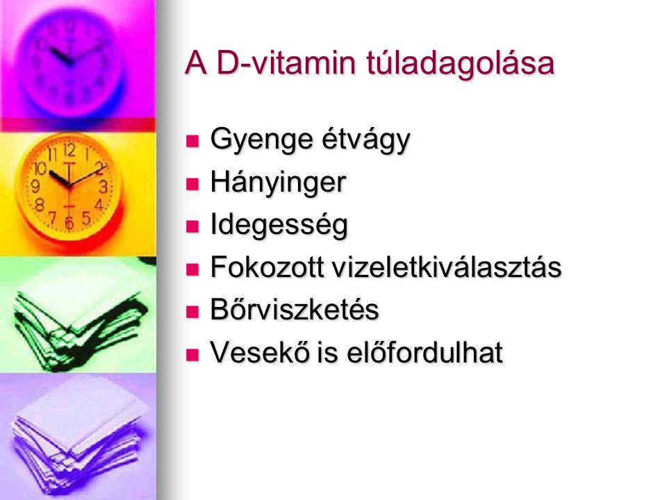 A D-vitamin túladagolása Gyenge étvágy Gyenge étvágy Hányinger Hányinger Idegesség Idegesség Fokozott vizeletkiválasztás Fokozott vizeletkiválasztás B
