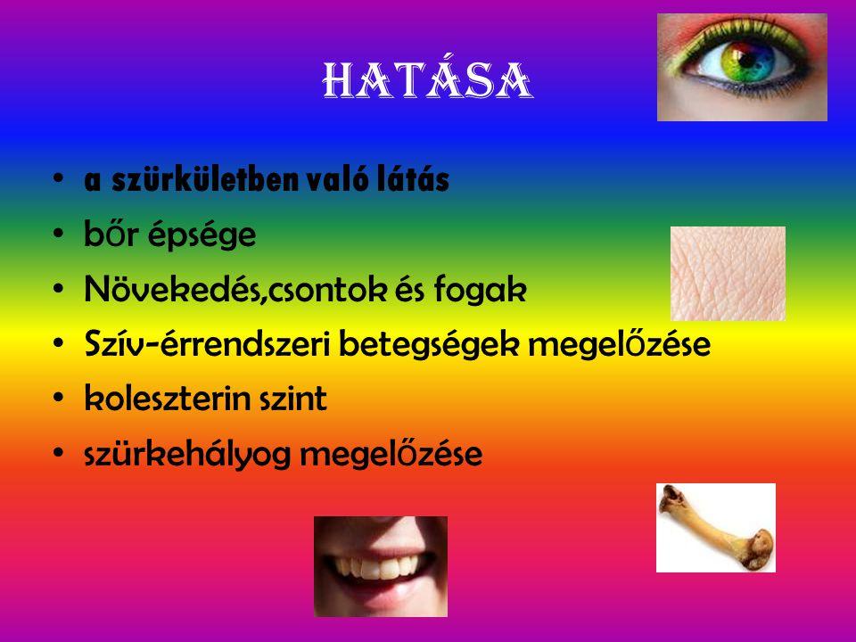 Hiánya Farkasvakság vagy szürkületi vakság egyes daganatok kialakulása A bőr szárazzá válik A haj töredezetté válik