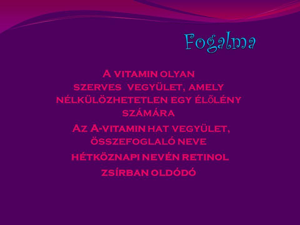 A vitamin olyan szerves vegyület, amely nélkülözhetetlen egy él ő lény számára Az A-vitamin hat vegyület, összefoglaló neve hétköznapi nevén retinol zsírban oldódó