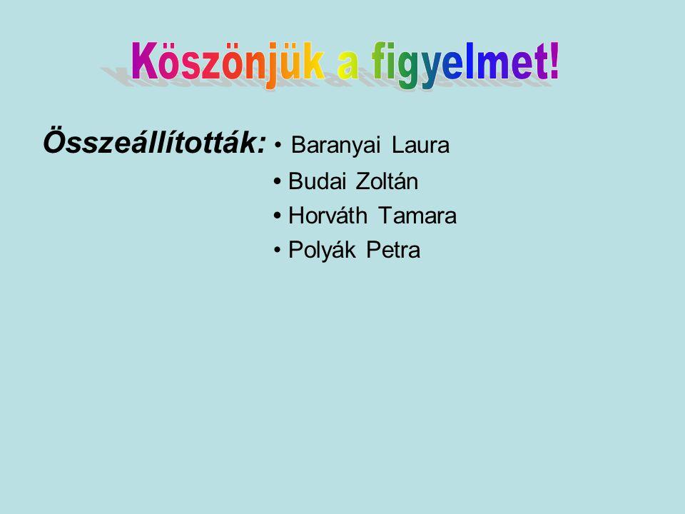 Összeállították: Baranyai Laura Budai Zoltán Horváth Tamara Polyák Petra