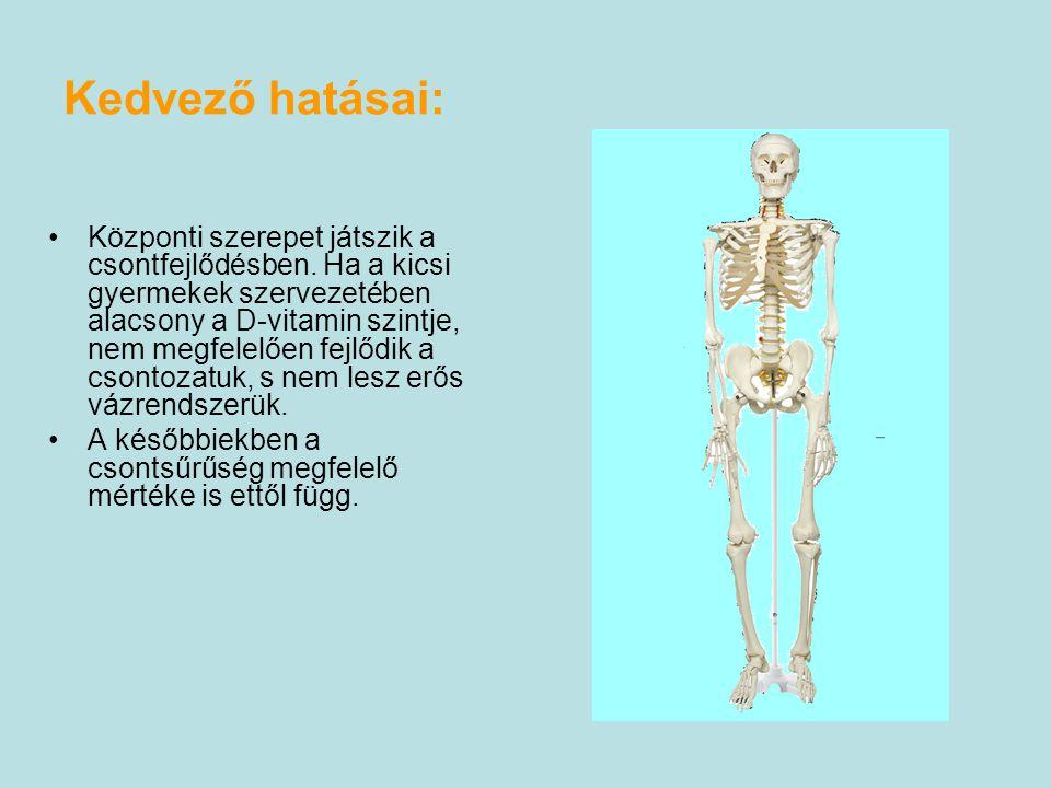 Kedvező hatásai: Központi szerepet játszik a csontfejlődésben.