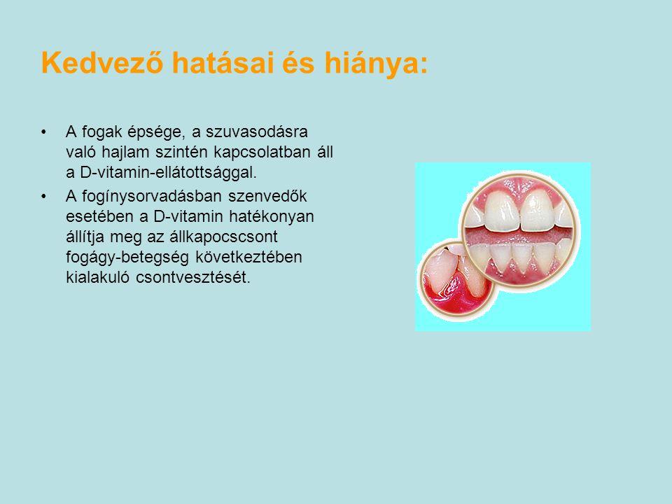 A fogak épsége, a szuvasodásra való hajlam szintén kapcsolatban áll a D-vitamin-ellátottsággal.