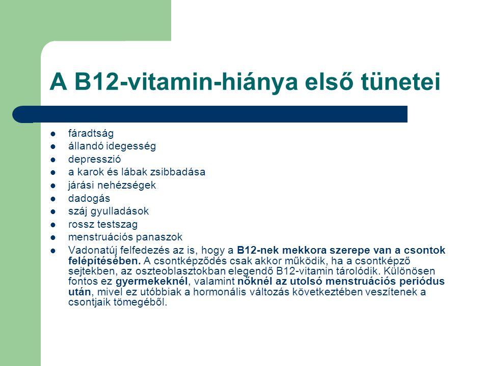 A B12-vitamin-hiánya első tünetei fáradtság állandó idegesség depresszió a karok és lábak zsibbadása járási nehézségek dadogás száj gyulladások rossz testszag menstruációs panaszok Vadonatúj felfedezés az is, hogy a B12-nek mekkora szerepe van a csontok felépítésében.