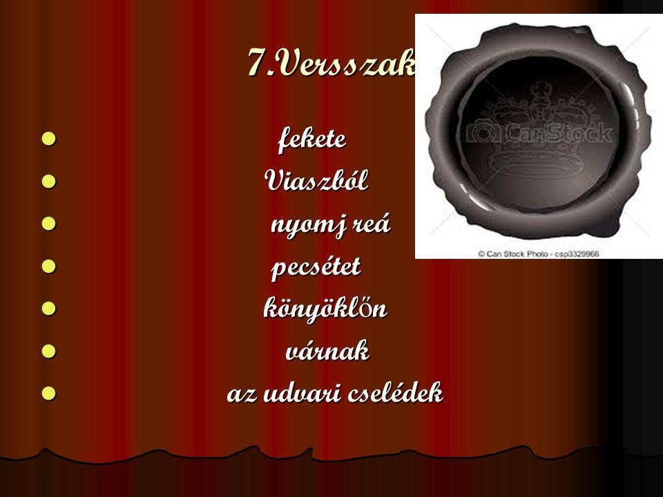 7.Versszak fekete fekete Viaszból Viaszból nyomj reá nyomj reá pecsétet pecsétet könyökl ő n könyökl ő n várnak várnak az udvari cselédek az udvari cs