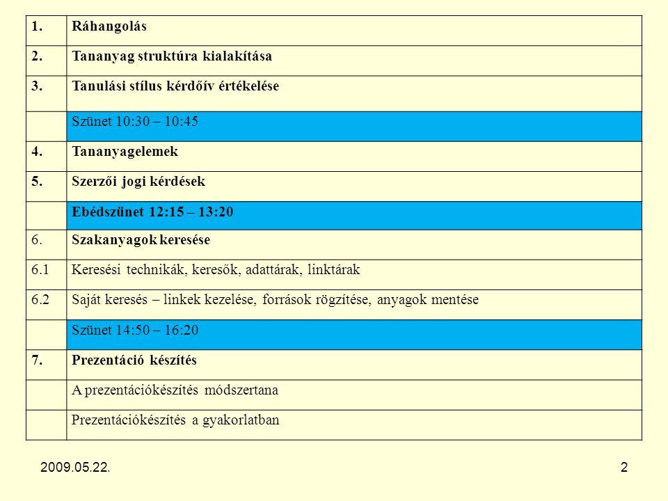 A tananyag tartalmi szerkezetének kialakítása Rendezze sorrendbe témaköreit! 2009.05.22.3