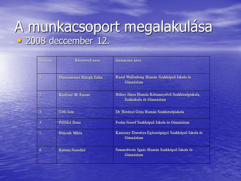 A munkacsoport megalakulása 2008 deccember 12. 2008 deccember 12.