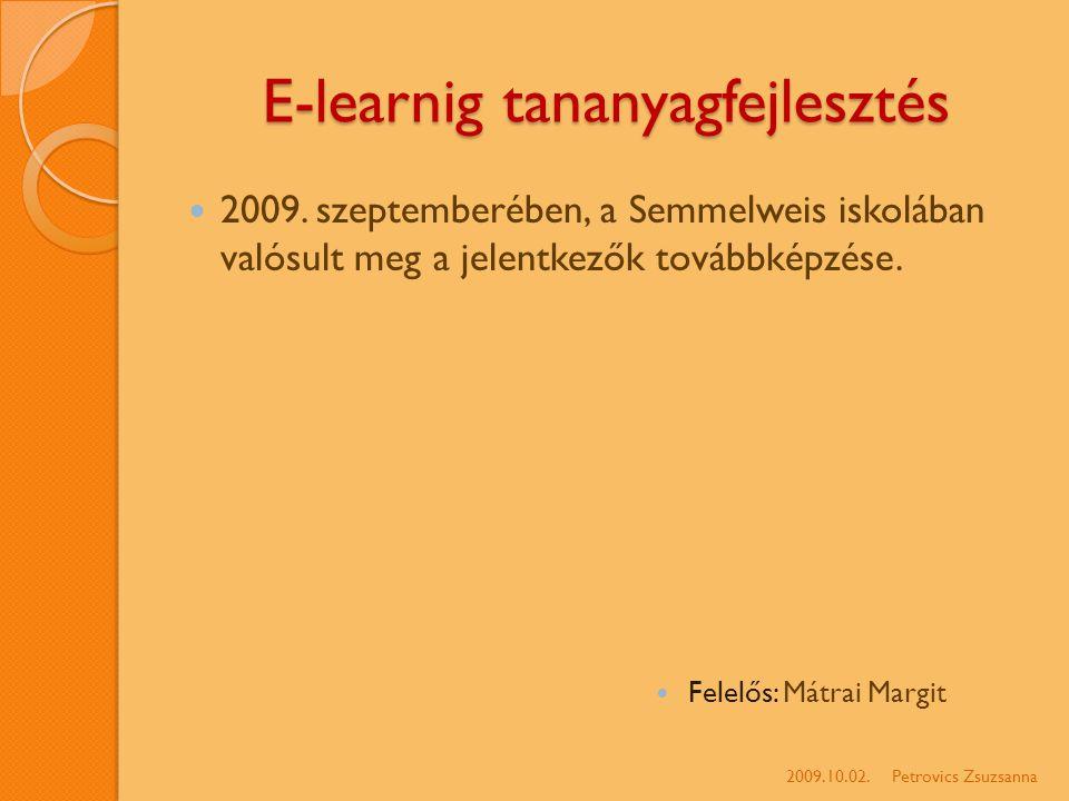 E-learnig tananyagfejlesztés 2009.