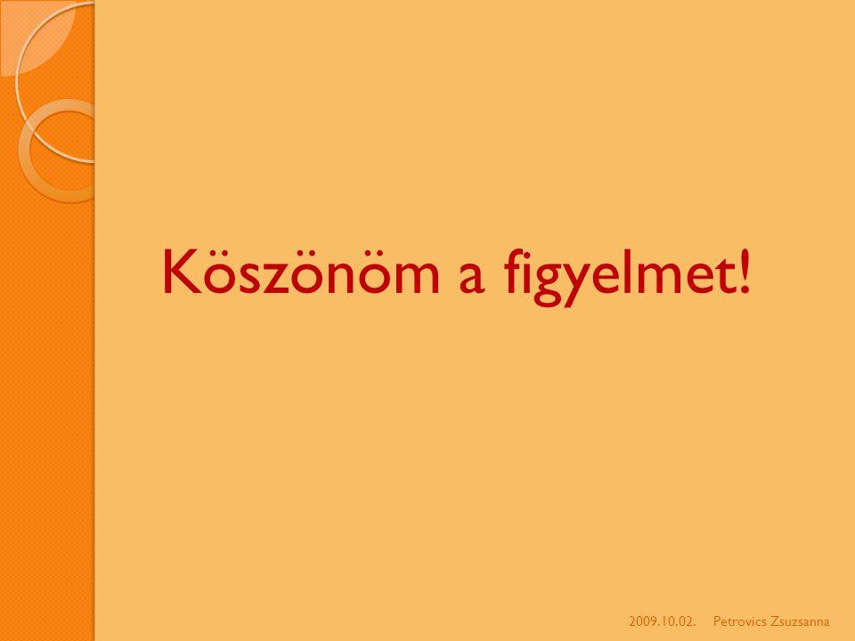 Köszönöm a figyelmet! 2009.10.02.Petrovics Zsuzsanna