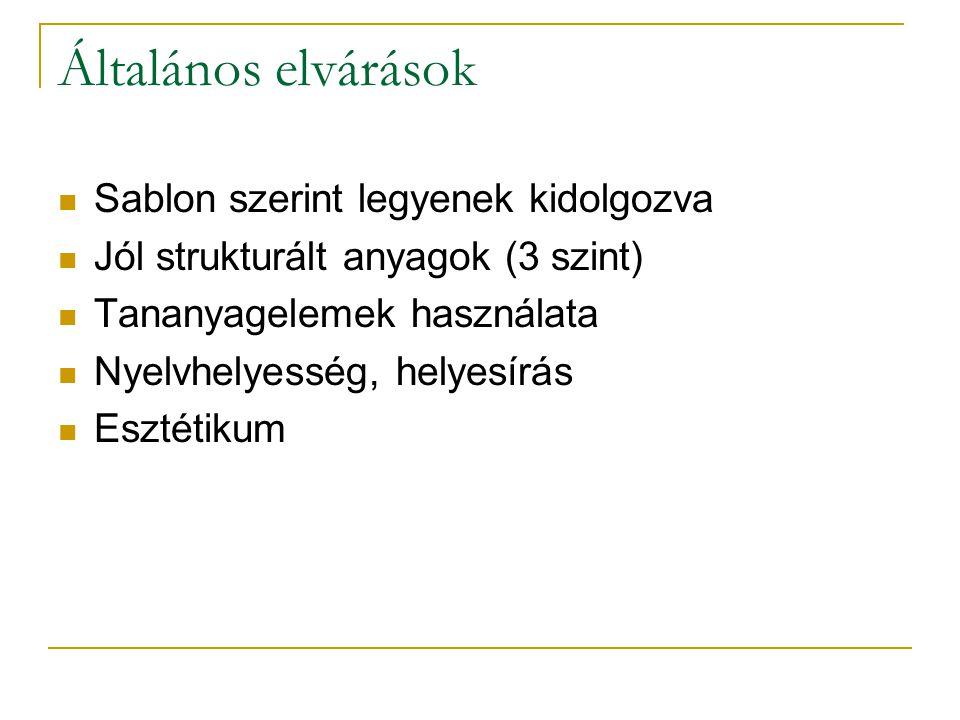 Fejleszthető anyagok Tanulói jegyzet Tanulói munkafüzet Tanári kézikönyv Tanári prezentáció