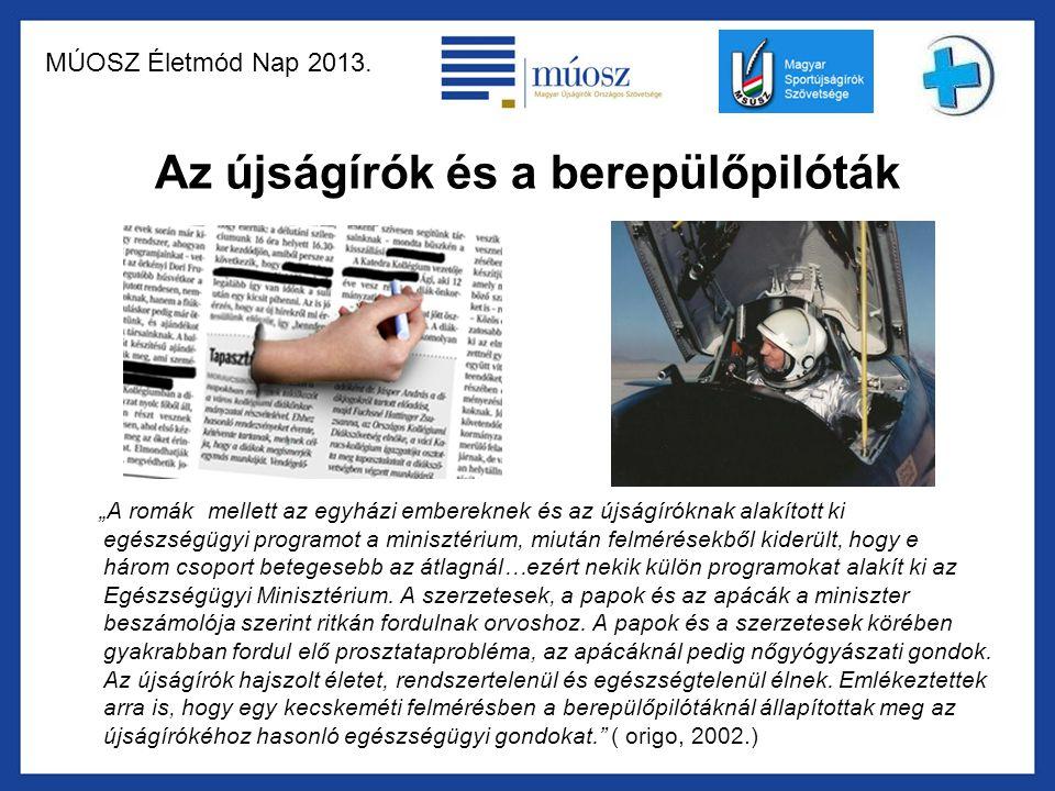 """MÚOSZ Életmód Nap 2013. Az újságírók és a berepülőpilóták """"A romák mellett az egyházi embereknek és az újságíróknak alakított ki egészségügyi programo"""