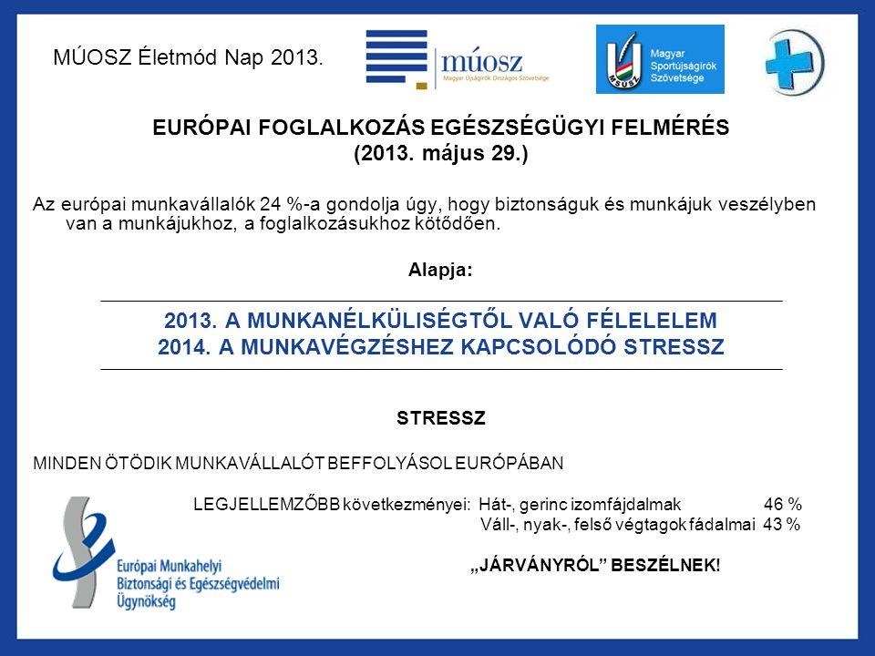 MÚOSZ Életmód Nap 2013. EURÓPAI FOGLALKOZÁS EGÉSZSÉGÜGYI FELMÉRÉS (2013. május 29.) Az európai munkavállalók 24 %-a gondolja úgy, hogy biztonságuk és