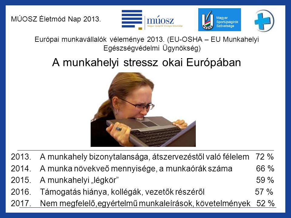 MÚOSZ Életmód Nap 2013. Európai munkavállalók véleménye 2013. (EU-OSHA – EU Munkahelyi Egészségvédelmi Ügynökség) A munkahelyi stressz okai Európában