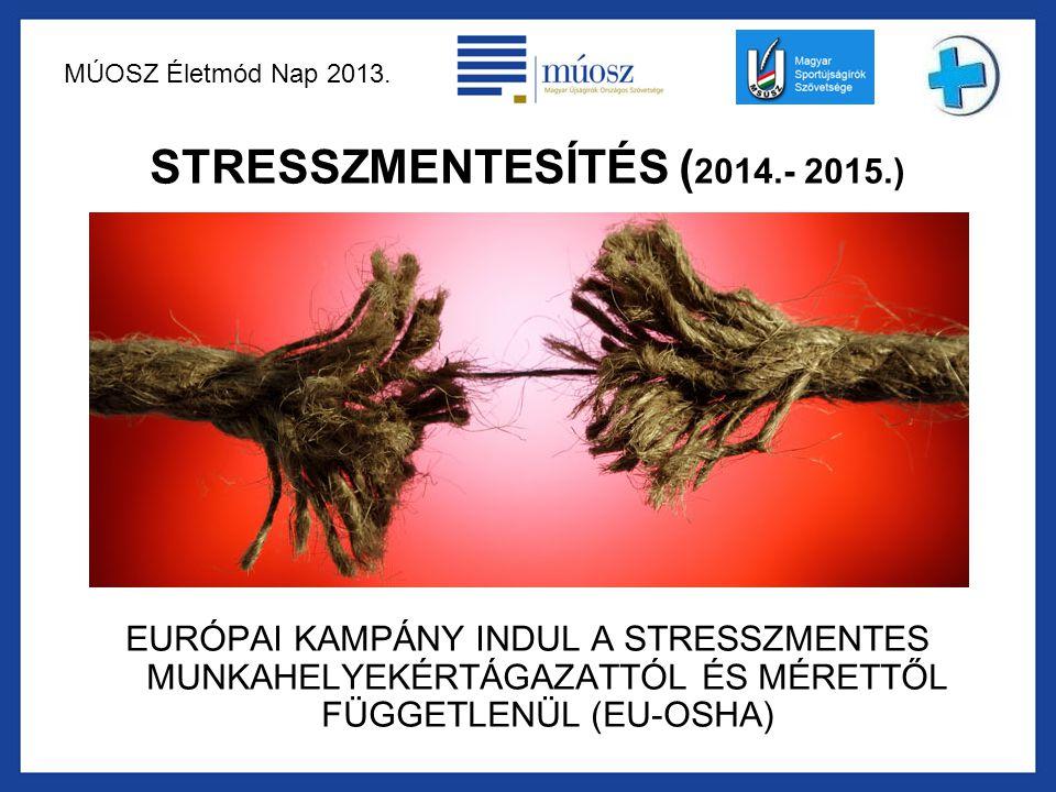 MÚOSZ Életmód Nap 2013. STRESSZMENTESÍTÉS ( 2014.- 2015.) EURÓPAI KAMPÁNY INDUL A STRESSZMENTES MUNKAHELYEKÉRTÁGAZATTÓL ÉS MÉRETTŐL FÜGGETLENÜL (EU-OS
